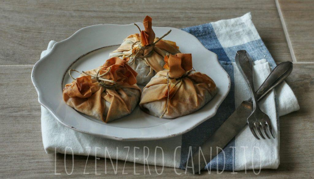 Fagottini di pasta fillo con radicchio e pecorino